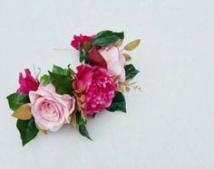 Floral Crown Wedding Crown Flower Hairpiece by TheFauxBouquets
