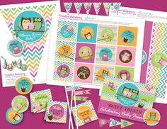 Owl Baby Shower DIY Party Printables Package. Pink, Orange, and Green, Aqua Chevron. Owl themed party printables customized just for you.. $19.99, via Etsy.