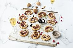 The great thing about this palmier recipe is that you can use ready rolled puff pastry, so the creativity is all around the toppings you choose. Camembert and cranberry balance beautifully and Ballymaloe Cranberry Sauce is the perfect place to start.  #cranberry #cranberrysauce #irish #snack #party #camembert #toppings Ballymaloe Cookery School, Cookie Do, Snack Recipes, Snacks, Little Island, Cranberry Sauce, Types Of Food, Perfect Place, Breakfast
