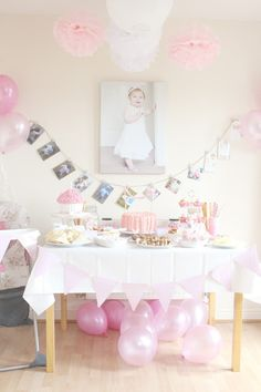 gorgeous pink white baby's second birthday photo garland simple