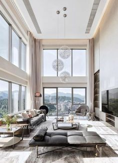 High Ceiling Living Room Modern, Home Interior Design, Interior Architecture, Luxury Homes Interior, Kitchen Interior, Living Room Designs, Living Room Decor, Extra Long Curtains, Modern House Design
