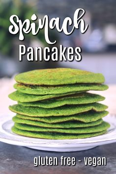 The Original Vegan Spinach Pancake recipe! learn how to make easy dye free green pancakes to enjoy sweet or savory, as a stack or sandwich. Vegan Breakfast Recipes, Delicious Vegan Recipes, Healthy Recipes, Meatless Recipes, Keto Recipes, Snacks Recipes, Healthy Breakfasts, Healthy Snacks, Healthy Eating