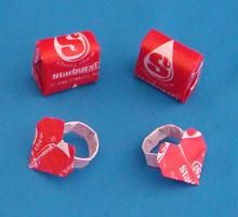 Make an origami heart ring from a candy wrapper. ( + other origami made from candy wrappers.)