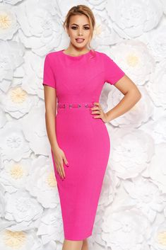 StarShinerS fuchsia office midi pencil dress from non elastic fabric with metal accessories, metal accessories, tented cut, short sleeves, back zipper fastening, non elastic fabric Daily Dress, New Dress, Short Sleeves, Short Sleeve Dresses, Dress Cuts, Pencil Dress, Body Measurements, Size Clothing, Dress Outfits