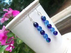 Two Shades of Blue Crystal Dangles Shades of Blue by BirdysNest, $14.50