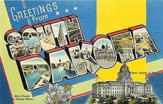 1940s Large Letter Greetings from South Dakota SD Antique Vintage Postcard