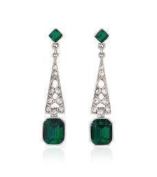 Bridal Crystal and Emerald Deco Earring by Ben Amun | Thomas Laine