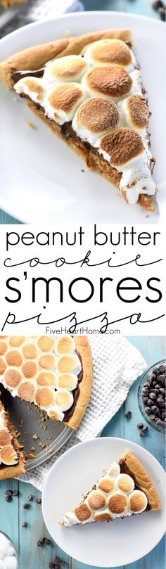 Peanut Butter Cookie S'mores Pizza ~ melted chocolate and toasted marshmallows top a thick, chewy, homemade peanut butter crust in this fun and decadent dessert recipe that's perfect for summer parties or year-round special occasions! | FiveHeartHome.com