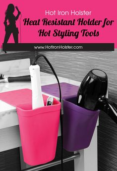 Declutter your counter with the Hot Iron Holster! It clings to your countertop or sink and is heat resistant for all of your hot hair styling tools!