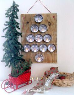 Flameless Tealights and Tuna Can Christmas Tree