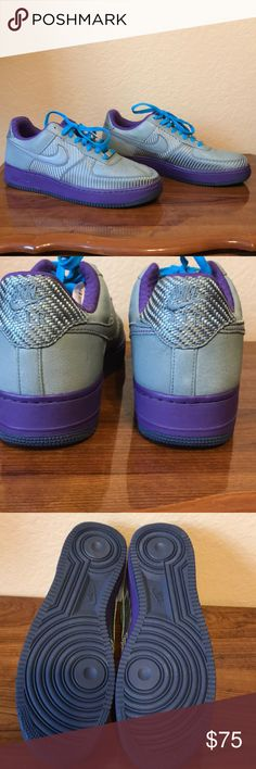 New no box Men's Nike Air Tennis Shoes  11 Men's New Nike Air Size 11 The tag is still inside the shoe New no box   These shoes are a great grey and purple in color with teal blue shoelaces  Thank you for looking at my closet! Nike Shoes Sneakers
