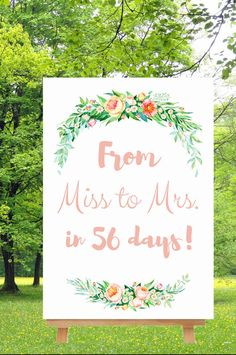 Miss to Mrs. Sign// Bridal Shower Sign// by MarisaCarolineDesign #miss to mrs #wedding countdown sign #bridal shower decotations