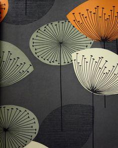 Dandelion Clocks Wallpaper Charcoal wallpaper with dandelion clocks in orange, beige and grey