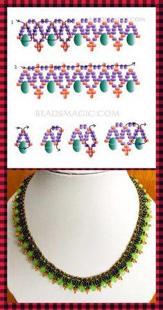 seed bead bracelet patterns and instructions Beaded Necklace Patterns, Beaded Bracelets Tutorial, Beading Tutorials, Beading Patterns, Seed Bead Jewelry, Handmade Beads, Bead Weaving, Jewelry Making, Helmet