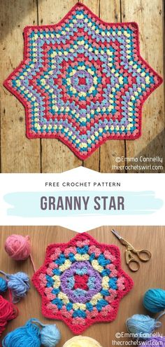 Crochet Star Blanket, Point Granny Au Crochet, Grannies Crochet, Crochet Squares Afghan, Crochet Stars, Granny Square Crochet Pattern, Crochet Blanket Patterns, Knitting Patterns, Crochet Afghans