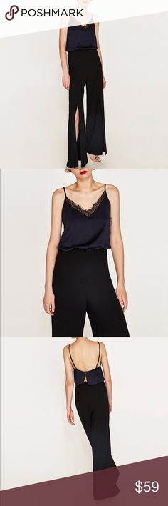 GORGEOUS ZARA NWT Contrast Lace Black Jumpsuit New with tags. Retails for $85! Zara Other