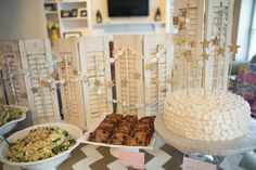 Wooden shutters as a backdrop to a party table - yes!