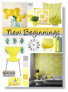 """new beginnings"" by slpayne ❤ liked on Polyvore featuring interior, interiors, interior design, home, home decor, interior decorating, WALL, Surya, Trina Turk and Crate and Barrel"
