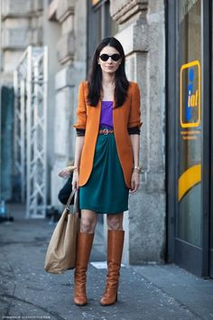 laia photographed by stockholm street style -- Pinned for color combo: purple, amber, and teal. Style Désinvolte Chic, Look Chic, Mode Style, Style Me, Colourful Outfits, Colorful Fashion, Leila Yavari, Stockholm Street Style, Lookbook