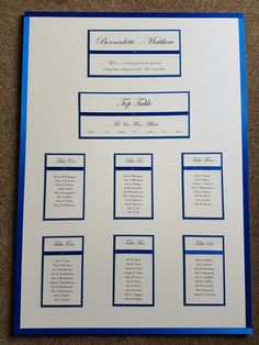 Royal blue wedding table plan board
