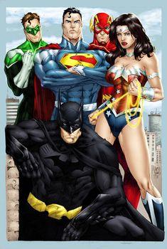 Green Lantern, Superman, Flash, Wonder Woman, and Batman Arte Dc Comics, Dc Comics Art, Marvel Fanart, Marvel Vs, Comic Book Heroes, Comic Books Art, Univers Dc, Comic Manga, Jamel