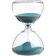Count down the minutes (five to be exact) as turquoise sand travels through a stacked teardrop sculpture, handmade of chem lab beaker glass. Home Decor Accessories, Decorative Accessories, Glass Ceiling, Modern Sculpture, Modern Table, Glass Table, Hourglass, Decorative Objects, Sculptures