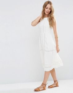 ASOS | ASOS Premium Embroidered Dress With Lace Inserts at ASOS