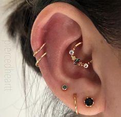 Gold Ear Jackets + Sparkly Spikes- gold ear jacket / ear jacket spike / ear jacket gold / ear jacket earring / gold ear cuff / gifts for her - Fine Jewelry Ideas - Accessoires - Ear Piercings Innenohr Piercing, Body Jewelry Piercing, Ear Jewelry, Fine Jewelry, Piercing Aftercare, Body Jewellery, Body Piercings, Cartilage Piercings, Piercing Chart