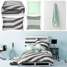 Mint mixed with @aurahome Tilted Stripe Duvet Cover  Shop this full look online by searching auratilted