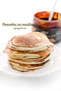 Amerykańskie pancakes na maślance (bez cukru, soli i masła, 375 ml maślanki, 1 tsp oleju) Pierogi, Meat Dish, Buttermilk Pancakes, Sweets, Dishes, Drinks, Breakfast, Food, Beef Dishes