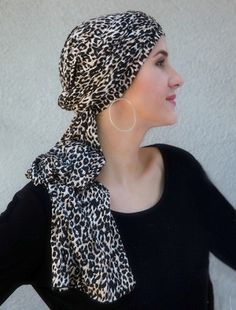 Leopard Turban Head Wrap (One Piece) is beautiful for #chemo #alopecia or stunning #style. Save 10% with code PINIT. Easy alternative on the days you don't want to wear a #wig