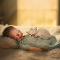 30+ Adorable Newborn Babies Sleeping With Baby Animals #adorablesmallpuppies