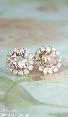 Peach and white opal Swarovski crystal earrings | peach wedding | peach and gray wedding www.endorajewellery.etsy.com