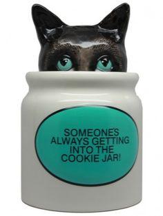 Hiding Cat Ceramic Cookie Jar Home Decor Goods Kitten Gato Cat Cookie Jar, Ceramic Cookie Jar, Cookie Jars, Cookie Monster, Statues, Kinds Of Cookies, Cute Kitchen, Kitchen Decor, Candy Jars