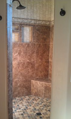 Shower stall re-do finally finished. Only the door needs to be installed but easier to take pics without it on. Showers Without Doors, Bathroom Faucets, Bathrooms, Bathtub, Shower Designs, House, Check, Projects, Ideas