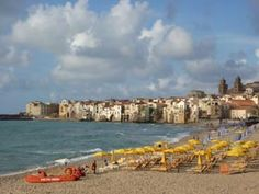 Beach at Cefalù, with the old town in the background. Walk up a very steep hill for great views. 40 mins from Castelbuono by train.