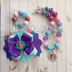 The Little Mermaid Ariel Chunky Darker Purple Bubblegum Bead Necklace, Bracelet… Disney Jewelry, Kids Jewelry, Princess Hair Bows, Princess Luna, Bottle Cap Crafts, Bottle Caps, Diy Headband, Headbands, Little Girl Jewelry