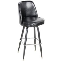 """Instantly upgrade the look and feel of your facility while treating patrons at your bar, private club, or game room to a comfortably pleasant perch with this Lancaster Table & Seating deluxe black bar stool. Boasting a luxurious 4"""" thick padded bucket seat with contoured back, this chair is designed to offer exceptional comfort and support. An 18 gauge steel frame adds to the chair's sleek design, while also providing exceptional support and durability. Plus, a swivel design allows for e..."""
