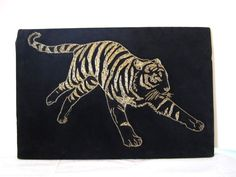 VTG Tiger String Art Black Gold Picture Big Cat Asian Jungle Wall Hanging Retro