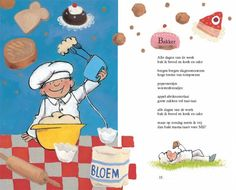 versje bakker Poetry Day, Little Chef, Color By Numbers, Preschool Lessons, School Themes, Music For Kids, Cookbook Recipes, Speech And Language, Happy Kids