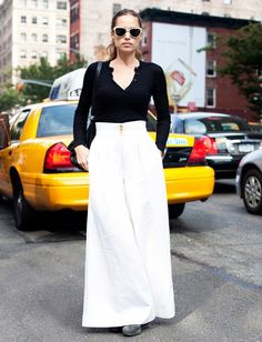 1. If you're wearing a statement piece like wide-leg trousers, keep the rest of your look low-key.