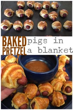 Baked Pretzel Pigs in a Blanket - perfect party appetizer. #superbowl #appetizer #party