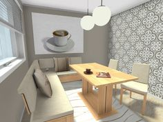 Coffee time! What other types of lighting fixtures could also work here?   Bench seating, wall art & coffee items available for you:  http://planner.roomsketcher.com/?ctxt=rs_com  3D floor plan for kitchen nook with coffee theme decor and bench seating designed in RoomSketcher Business Edition by our design team   #coffee #seating #lighting