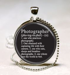 Photographer Dictionary Definition Photography Camera Jewelry Glass Dome Art Pendant with Ball Chain Necklace Included