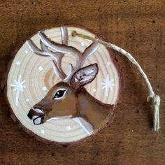 Items similar to Hand-Painted Deer Ornament on Etsy Painted Christmas Ornaments, Wooden Ornaments, Christmas Deer, Hand Painted Ornaments, Etsy Christmas, Christmas Origami, Christmas Crafts, Christmas Items, Wood Slice Crafts