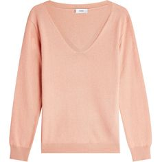 Closed Pullover (660 PLN) ❤ liked on Polyvore featuring tops, sweaters, pink, pink pullover, v-neck sweater, pullover sweater, red sweater and pink pullover sweater