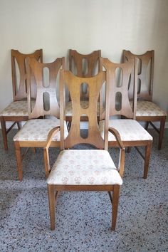 Mid Century Bassett High Back Dining Chairs  by RetroTherapyRehab