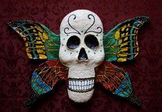 Metamorphosis Skull Winged Skull Paper Mache by MusidoraCreations, $200.00