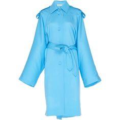 Nina Ricci Wool Gabardine Coat ($1,750) ❤ liked on Polyvore featuring outerwear, coats, blue, wool trench coats, wool gabardine coat, blue trench coat, woolen coat and nina ricci