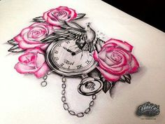 Pink Rose Flowers And Clock Tattoo Design Rose Tattoos, Flower Tattoos, Body Art Tattoos, New Tattoos, Girl Tattoos, Sleeve Tattoos, Tattoos For Women, Dove And Rose Tattoo, Chicanas Tattoo